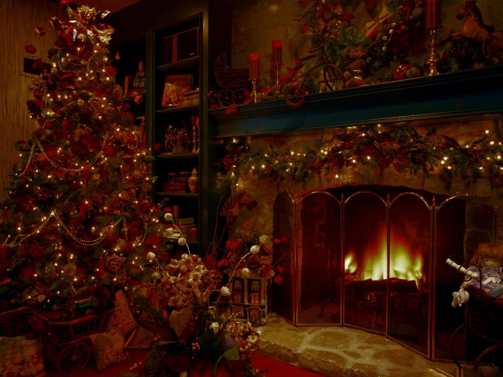 Christmas Fireplace Wallpaper Christmas Tree Fireplace Stockingsjpg 500 375 In Delightful