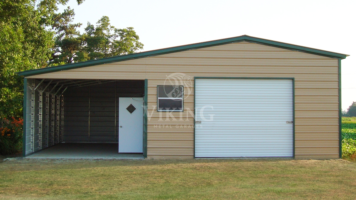 20x36x10 Vertical Garage With Lean To Viking Metal Garages