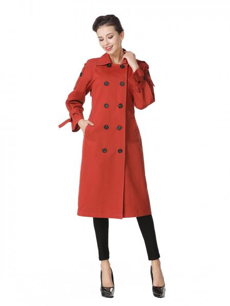 Ladies Dresses Rust Double-breasted Layered Long Ladies Trench Coat Sale