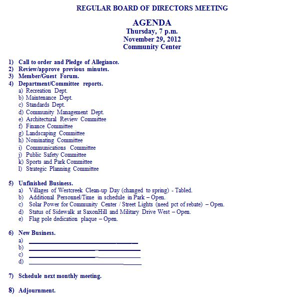 Agenda for November 29, 2012 Board of Directors Meeting Villages - board meeting agenda