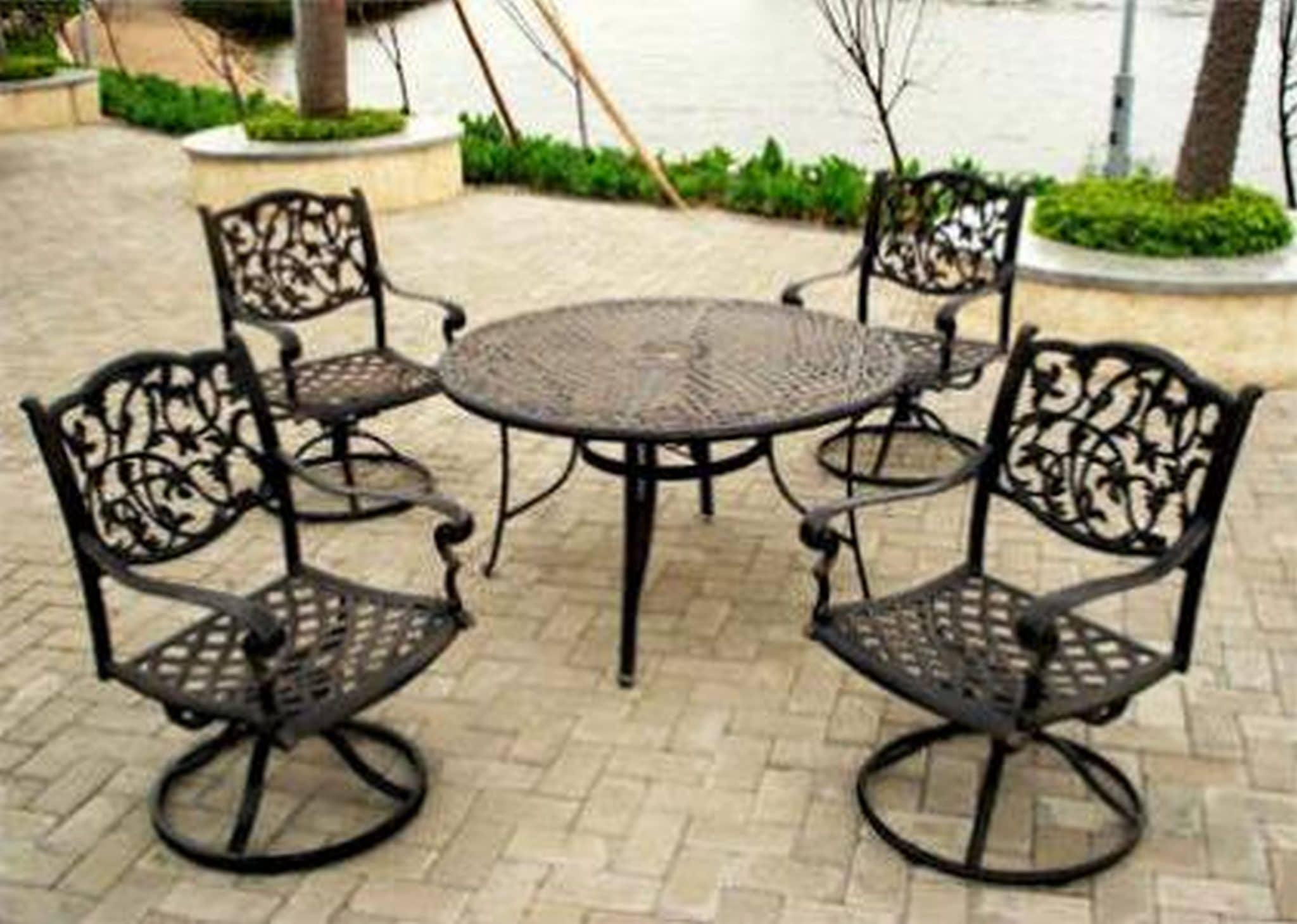 Vintage Iron Patio Furniture Part - 33: Vintage Iron Outdoor Furniture - Vintage Wrought Iron Patio Table Set Metal  Garden Chairs Glass White