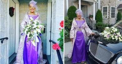 86-летняя женщина вышла замуж в платье, которое она спроектировала сама.