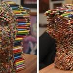 Необычная скульптура из цветных карандашей Молли Гамбарделлы.