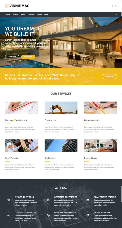 Construction Website Design Vinnie Mac - Website Design  Digital