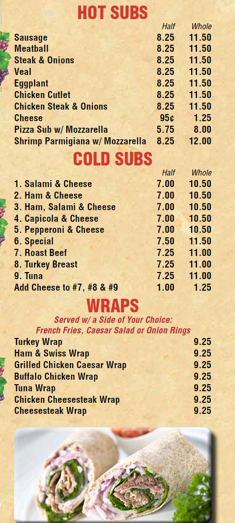 Vinnie\u0027s Pizza  Subs in East Brunswick  Milltown - menu