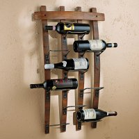 9 Bottle Barrel Stave Wall Wine Rack