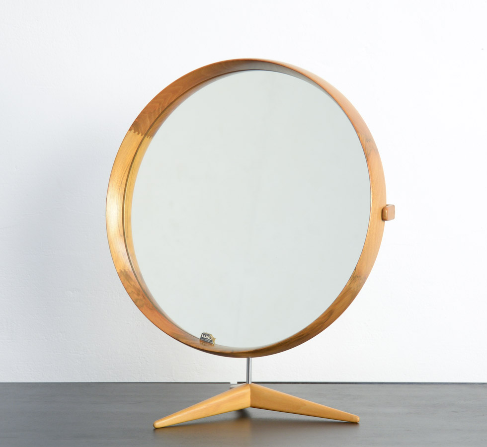 Luxus Design Walnut Table Mirror By Uno And Osten Kristiansson For Luxus
