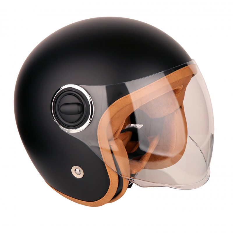 Intercom Moto Casque Jet Strada Noir Mat & Marron - Casque Jet Vintage