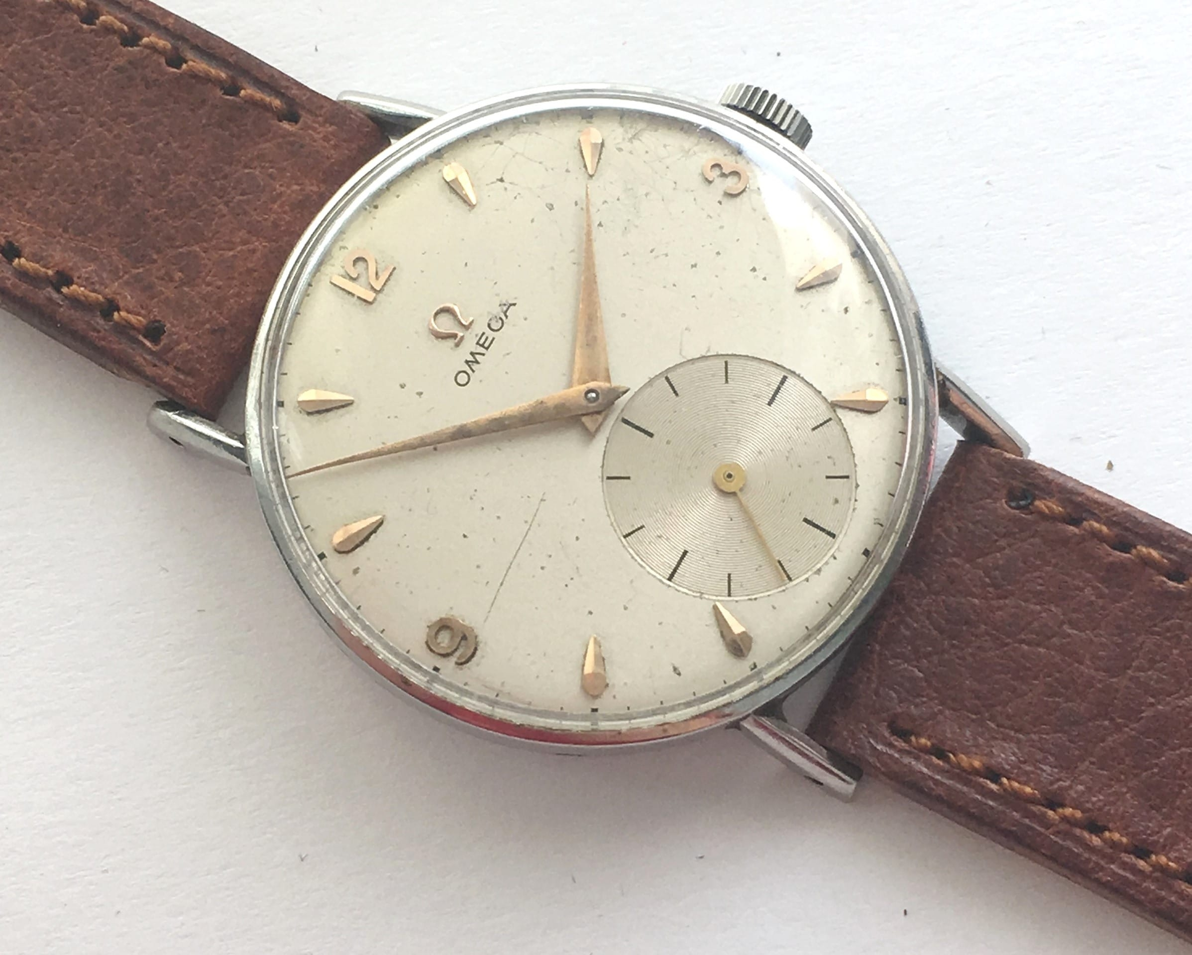 Uhr Vintage Serviced Omega 35mm Vintage Watch With Big Small Second