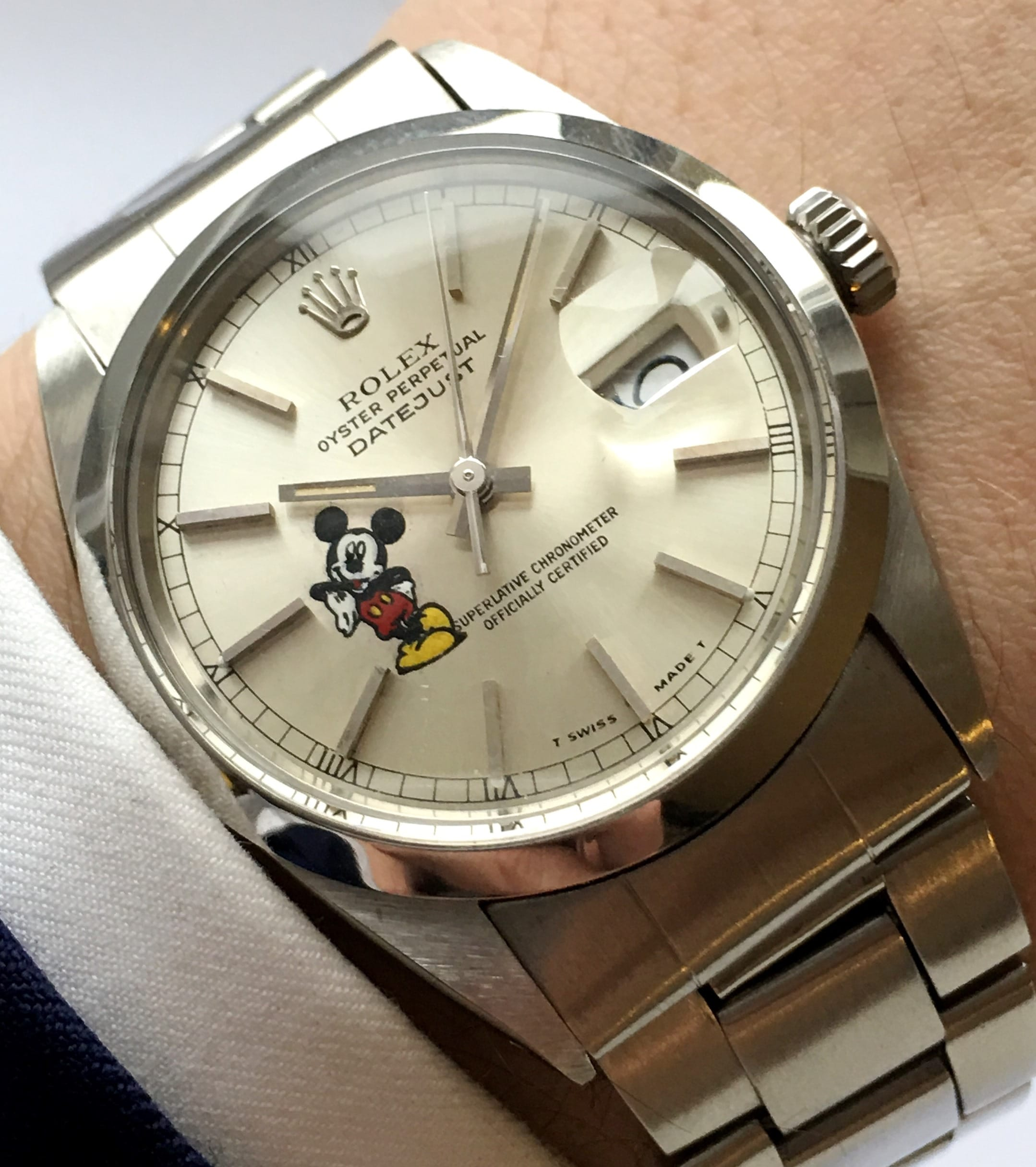 Rolex Verkauf Serviced Rolex Datejust 36mm Steel Silver Mickey Mouse Dial