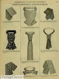 Victorian Men's Ties, Cravat, Ascot, Bow Ties, Neckties
