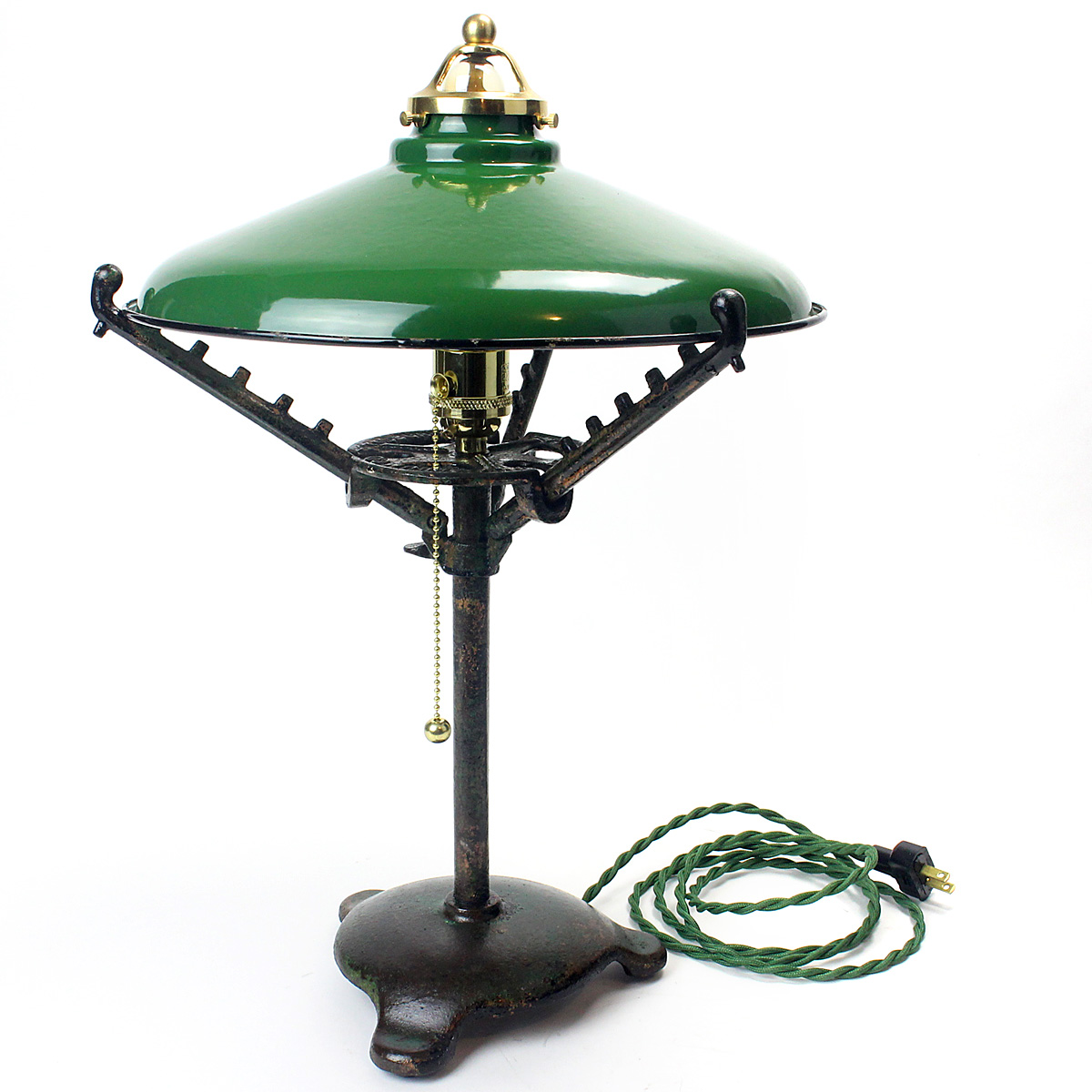 Green Metal Plant Stand Cast Iron Plant Stand Base With Green Porcelain Shop Light