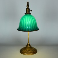 "Emeralite 8"" Desk Lamp with Zebra Shade - Vintage Glass ..."