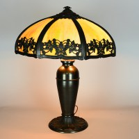 "Panel Lamp w/ Filagree Overlay 19"" Shade - Vintage Glass ..."