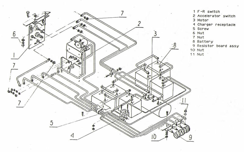 scooter battery wiring diagram likewise ez go golf cart wiring diagram
