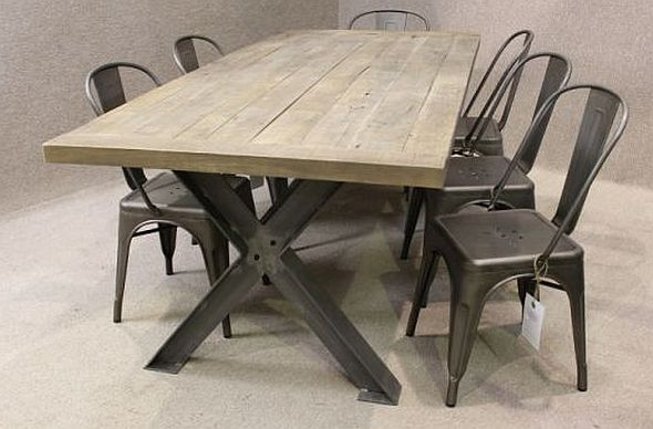 Vintage Reclaimed Sideboard Metal Base Table, A Sturdy Industrial Style Table With An