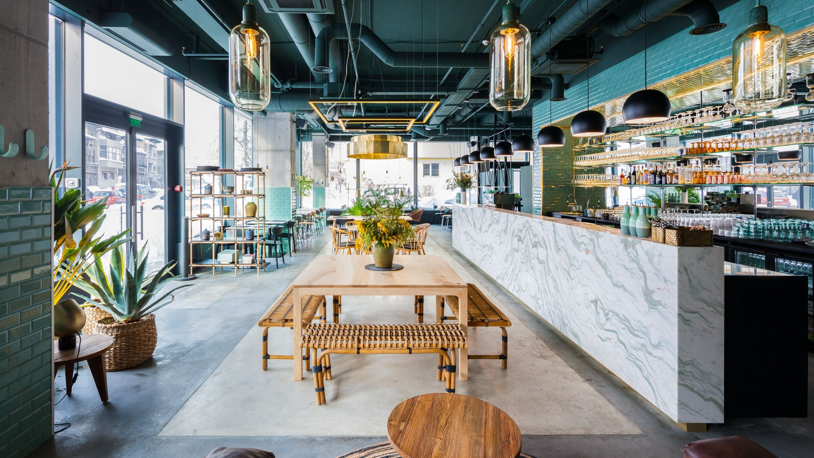 Industrial Style Industrial Style Restaurant With A Greenery Themed Decor