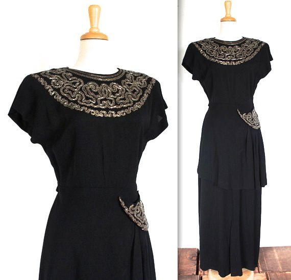 1940s Black Crepe Beaded Gown Vintage