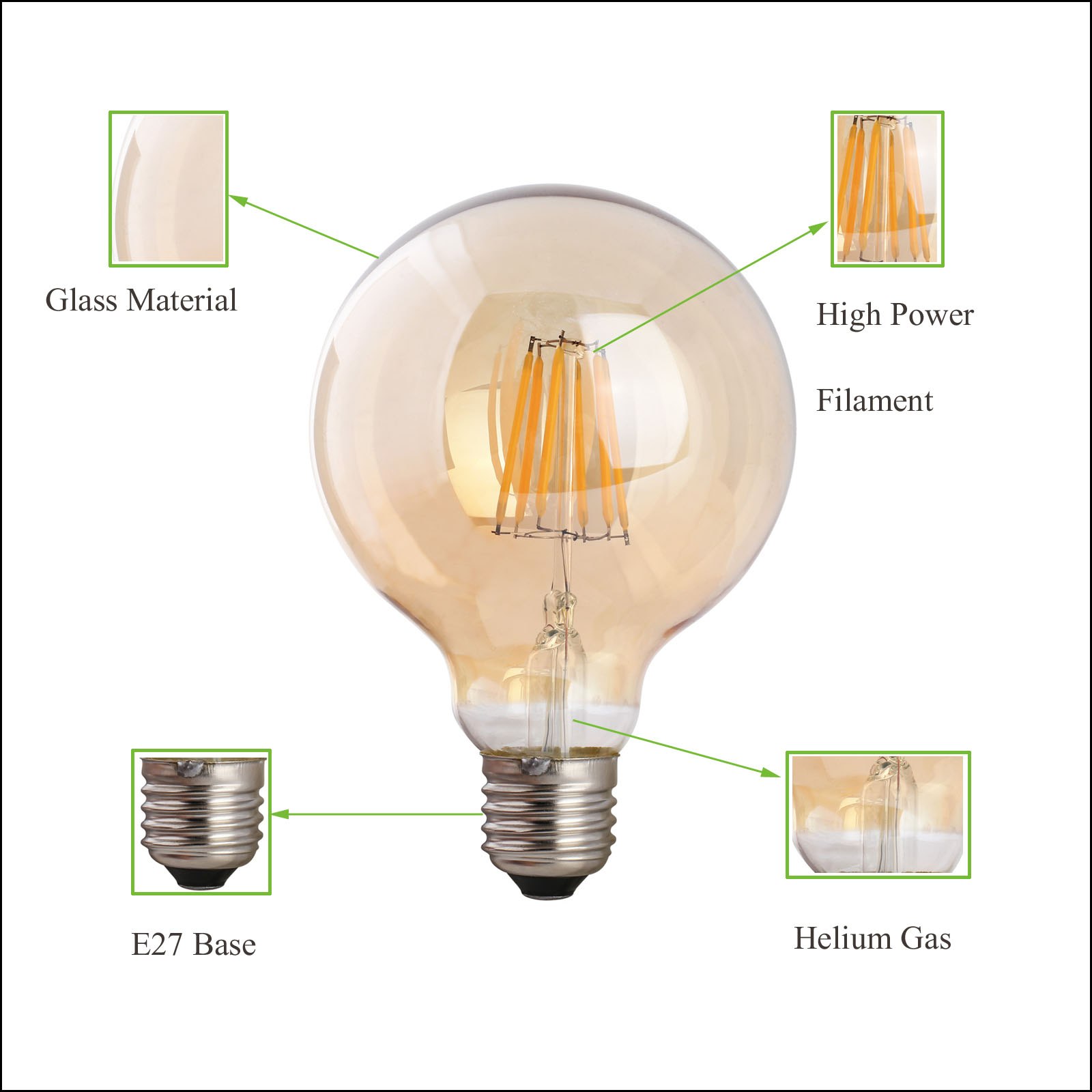 Retro Led E27 Vintage Led Light Bulb Amber E27 B22 E14 220v Industrial