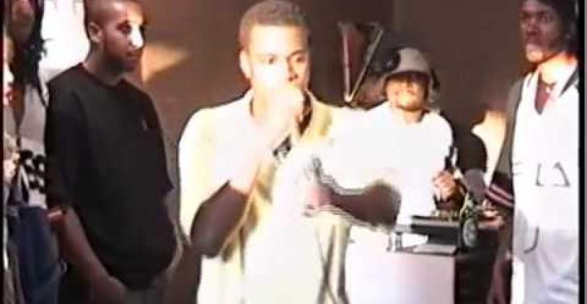 19 Year Old Kanye West Spitting A Freestyle At Fat Beats Opening In 1996