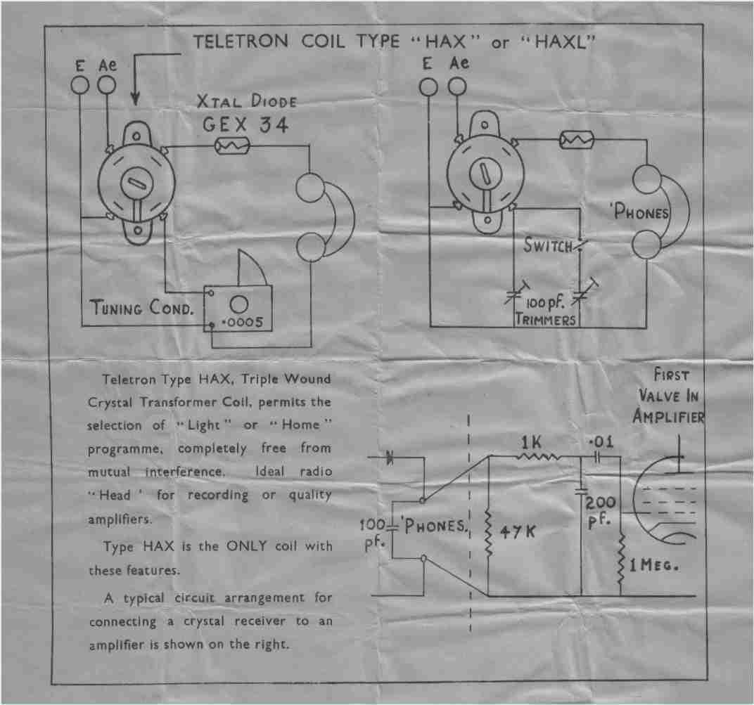 teletron hx crystal set circuit