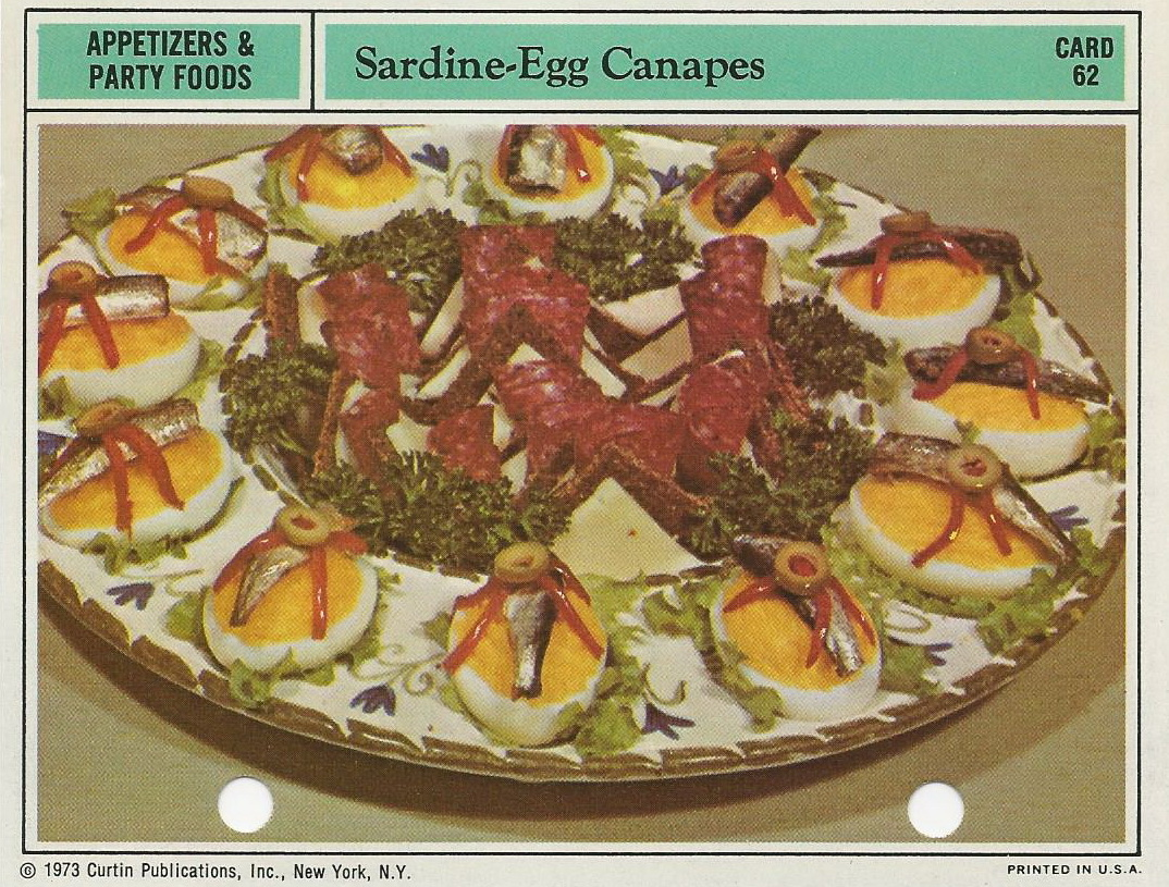 Sardine Egg Canapes Vintage Recipe Cards
