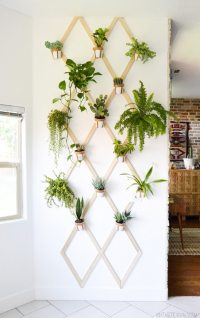 DIY Wood and Leather Trellis Plant Wall - Vintage Revivals