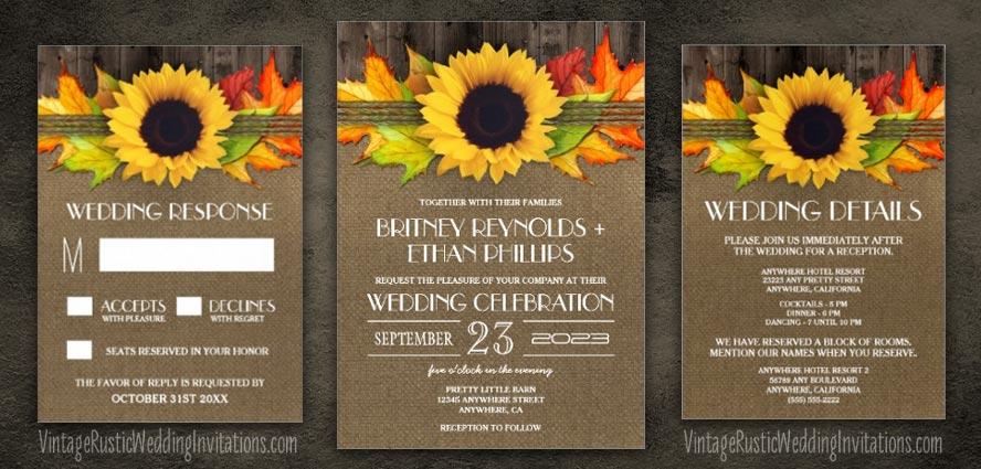 Sunflower Wedding Invitations - Vintage Rustic Wedding Invitations