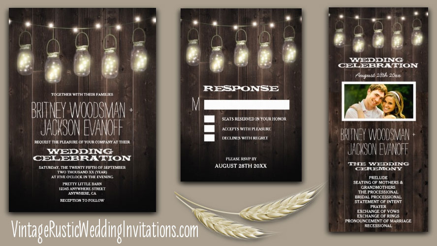 Fall String Lights Wallpaper Weddings Mason Jar Wedding Invitations Vintage Rustic Wedding