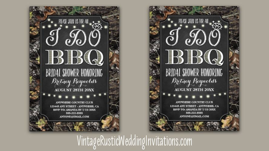 Camo Bridal Shower Invitations - Vintage Rustic Wedding Invitations
