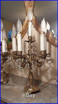 VINTAGE PAIR OF CANDELABRA CHANDELIER TABLE LAMPS With ...
