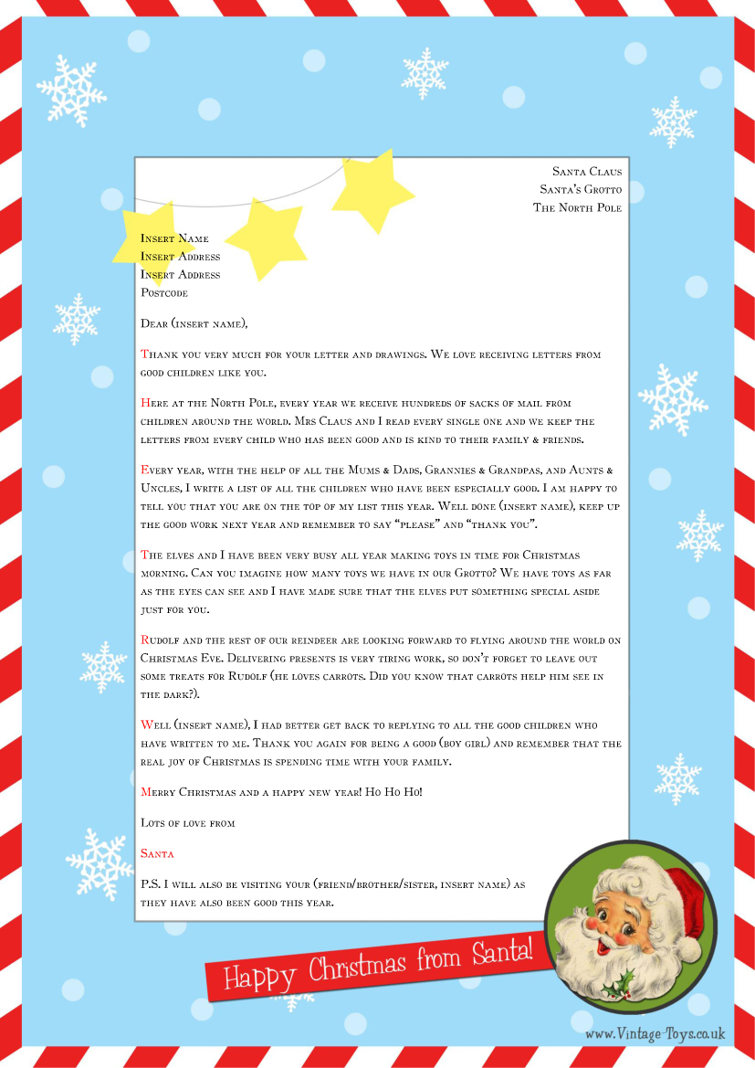 Word Document Letter From Santa – Microsoft Word Santa Letter Template