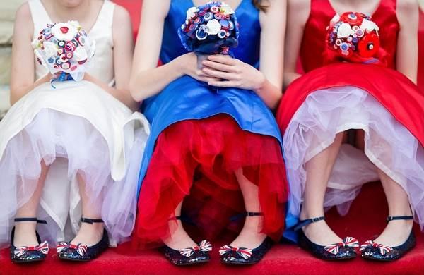 Union Jacks - bridesmaids dresses via National Vintage Wedding Fair blog
