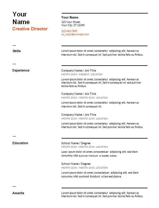 traditional resume template word free download