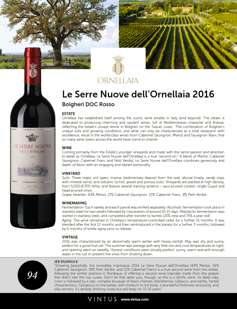 Serre Nuove Dell'ornellaia 2014 Browse Trade Materials Vintus