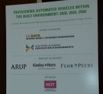 The welcome sign to the ancillary workshop at the TRB Autonomous Vehicle Symposium.