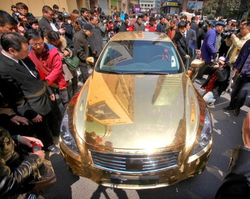 Ten unusual gold products. Gold plated Infiniti G37 car by jewelers from the Chinese city of Nanjing