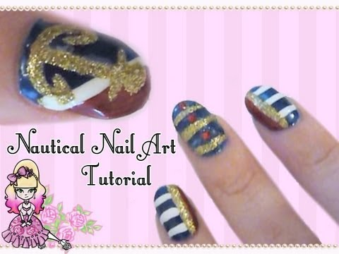 Cozy Basic Nautical Nail Art Tutorial Violet Lebeaux Tales Of An