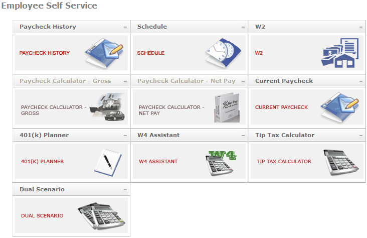 Employee Self Service Overview - net pay calculator