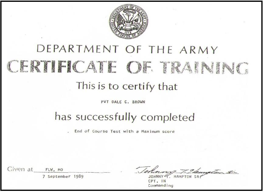 Army Certificate Of Training Template - Costumepartyrun - army certificate of training template