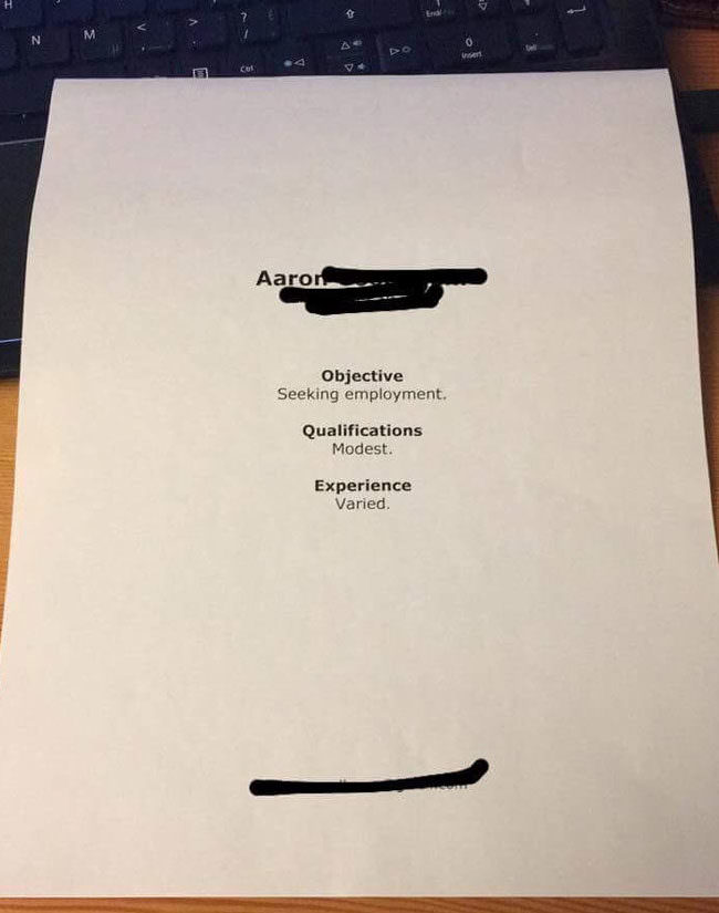 Worst Resume Ever Funny