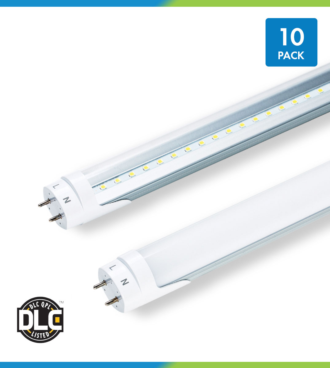 Fluorescent Tube Led Light T8 Led Hybrid Tubes 10 Pack Ballast Compatible Bypass 4 Foot