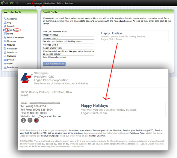 Email Footers with Dynamic Advertisements, Company Wide