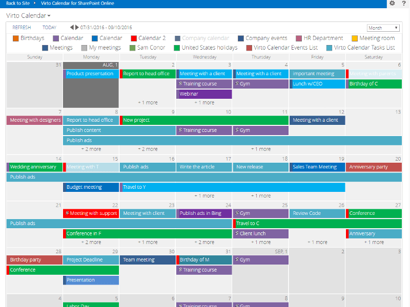 Online Shared Business Calendar Teamup 365 Day Calendar Calendar Template 2016