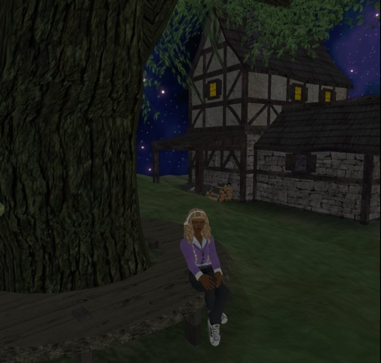 JJIE Virtual World: Enjoying being seated under a tree by hillside cottage (STORY CIRCLE)