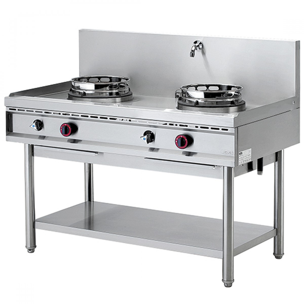 Cucina Wok Gas Wok Hob With Shelf 2 Burners 1 Water Tap