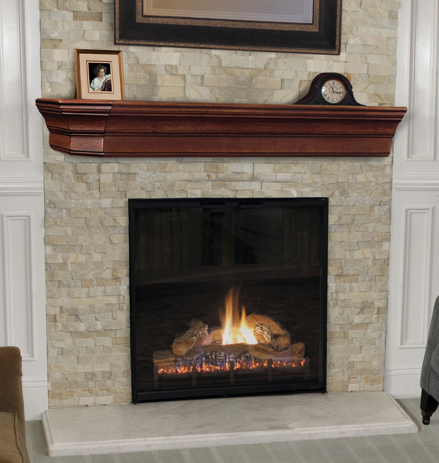 6 Ft Fireplace Mantel 6ft Distressed Cap Shelf Mantel In Cherry Lindon Furniture Home Decoration