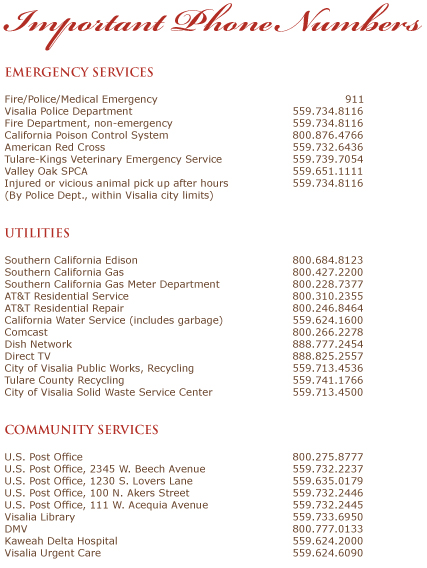 Important Phone Numbers List of Contact Info Visalia Real Estate