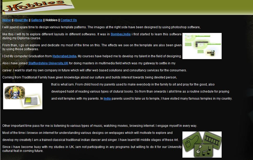 My Personal Website Portfolio Hobbies Link vishnupria