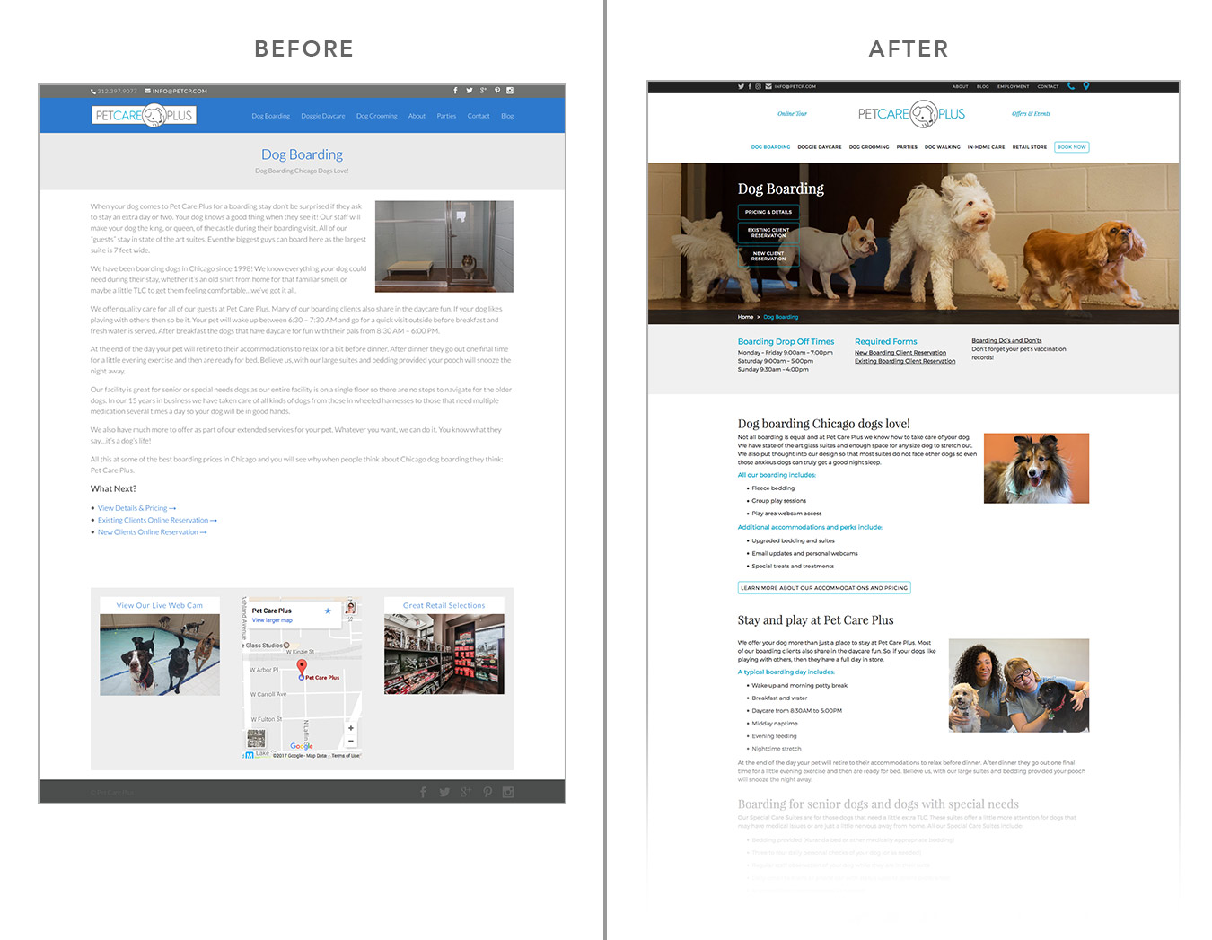 Care Design Before And After Web Design Pet Care Plus Visible Logic